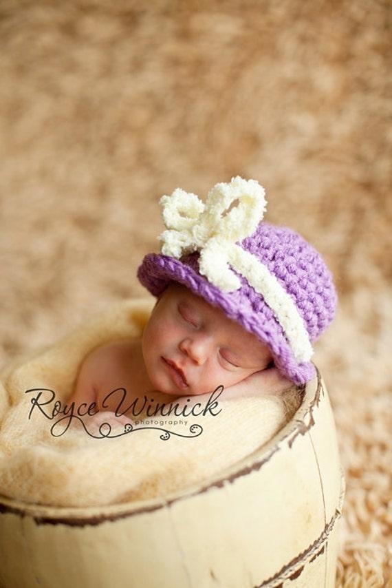 Crochet Baby Girl Hat Purple Cloche Photography Prop sizes Preemie, Newborn, 0-3 months, 3-6 months