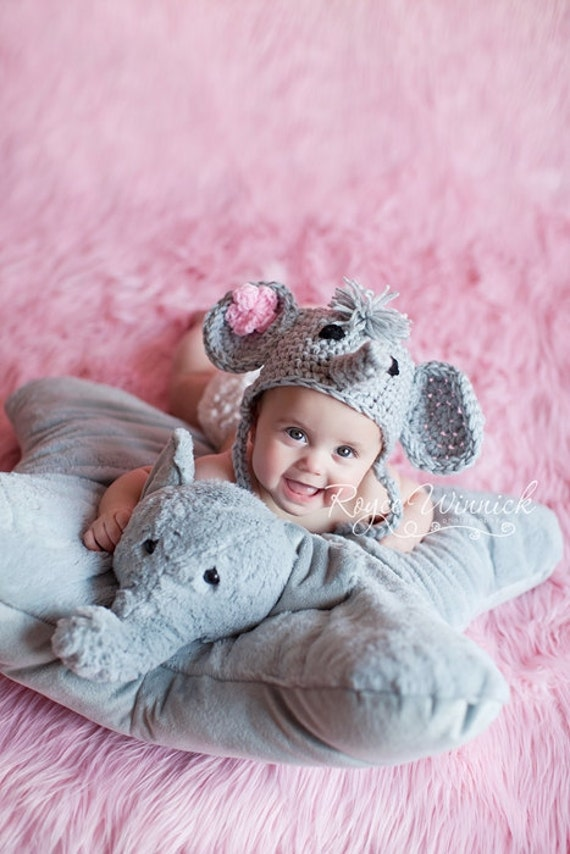 Crochet Pattern For Baby Elephant Hat : Baby Boy Baby Girl Crochet Hat Elephant Earflap Photo prop