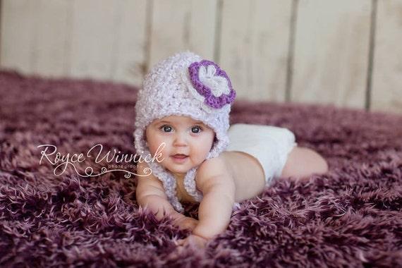 Purple Flower  Hat Baby Photography Prop Sizes Preemie, Newborn, 0-3 months, 3-6 months
