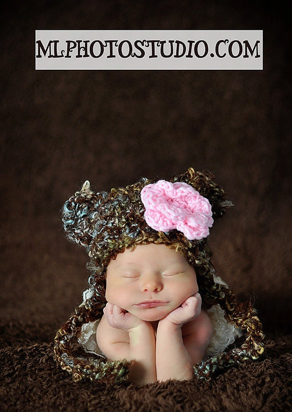Fuzzy Teddy Bear  Hat Crochet Photography Prop Ready Item