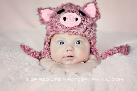 Piggy Earflap crochet Baby Newborn Photography Prop