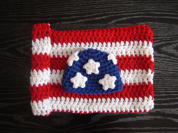 American Flag Cocoon Set SALE Crochet Baby Newborn Photography Prop Ready Item