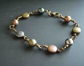 Wire Wrapped Bracelet Copper Jewelry Earth Tone Beads