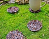 Coffee Bean Coasters 4pc set. Handmade with real coffee beans.