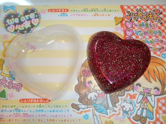 Extra Large Heart Clear Flexible Casting Resin No Release Needed Resin Mold Jewelry Flatback