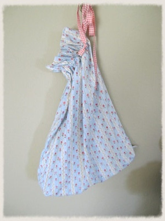 HALF PRICE. Shabby Blue Ticking Laundry Bag / Garment Bag / Lingerie Bag