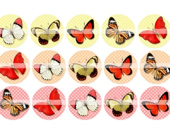 Digital Clipart, instant download, vintage butterflies, butterfly, 1 inch circles, bottlecaps, Digital Collage Sheet (4 by 6 inches)   297