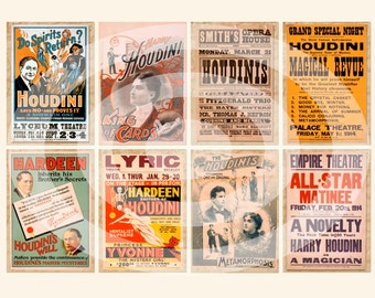 Digital Clipart, Vintage Harry Houdini Posters--instant download--magic magician--Clip Art--ACEO--8.5 by 11--Digital Collage Sheet  462
