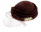 Vintage Pill Box Hat with Veil