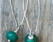 extra large and long genuine blue green turquoise gemstone charm silver sp earrings