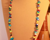 Super LONG 36 inch mother of pearl MULTICOLOR garland beaded toggle necklace or bracelet