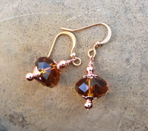 COPPER earth brown faceted crystal dangle drop beaded handmade earrings by miahsdreamfuljewels on etsy