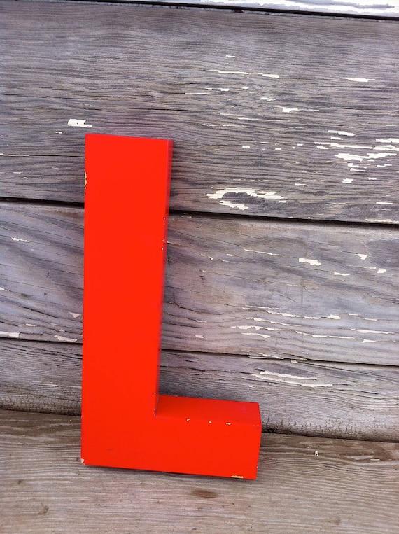 vintage letter L / retro signage / red metal letter L