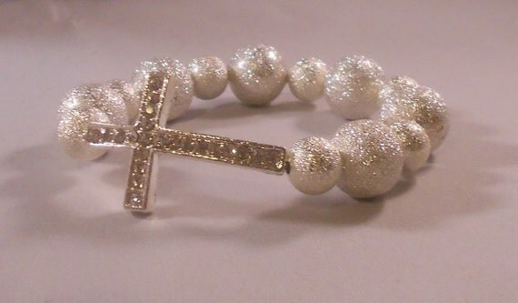 Cross Bracelet Silver Stardust Beads Basketball Wives Poparazzi Inspired