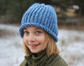 CLEARANCE SALE...65% OFF blue knit hat stocking cap, tween, child, adoption fundraiser