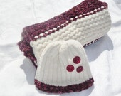 CLEARANCE SALE...55% OFF Hand knit doll blanket and hat set, adoption fundraiser