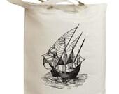 Vintage Sailboat Eco Friendly Tote Bag (id0005)