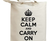 Retro Keep Calm and Carry On Eco Friendly Canvas Tote Bag (id0132)