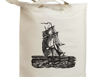 Vintage Sailboat Side Eco Friendly Tote Bag (id0004)