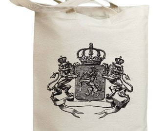 Vintage Crown Shield with 3 Lions Eco Friendly Tote Bag (no. id0016)