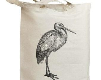Retro Stork Bird Eco Friendly Canvas Tote Bag (id0112)