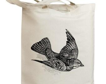 Retro Sparrow Bird 01 Eco Friendly Canvas Tote Bag (id0117)