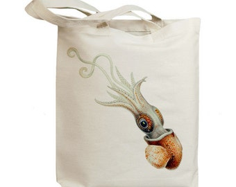 Retro Squid Swimming Eco Friendly Canvas Tote Bag (id6413)