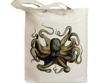 Retro Octopus Vintage Eco Friendly Canvas Tote Bag (idb0019)