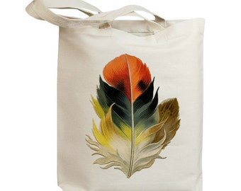 Retro Bird Feather 02 Vintage Eco Friendly Canvas Tote Bag (idb0006)