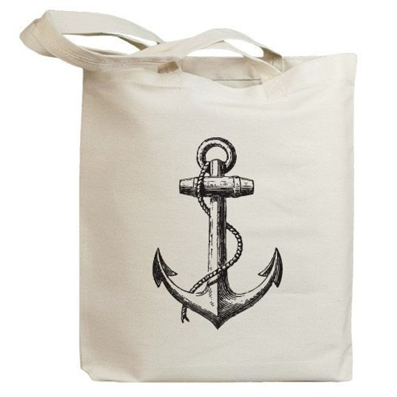 Vintage Sailboat Anchor Eco Friendly Tote Bag (id0001)