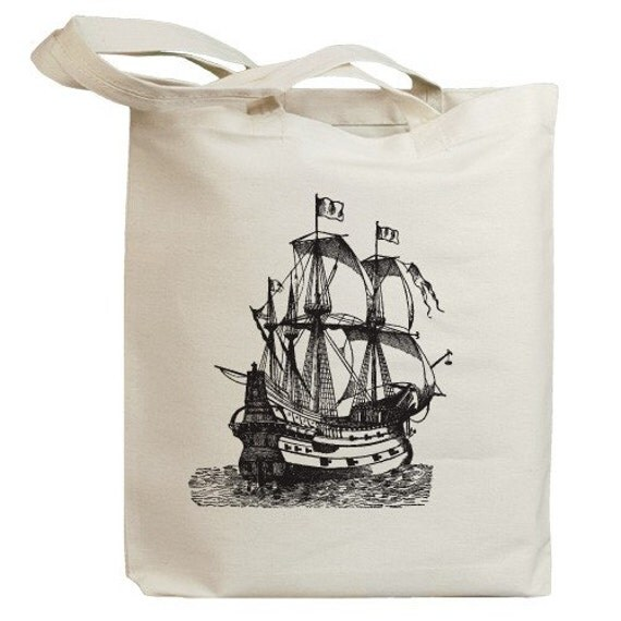 Vintage Pirate Sailboat Eco Friendly Tote Bag (id0002)