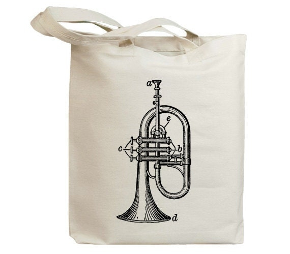 Retro Saxhorn Vintage Eco Friendly Canvas Tote Bag (id6200)