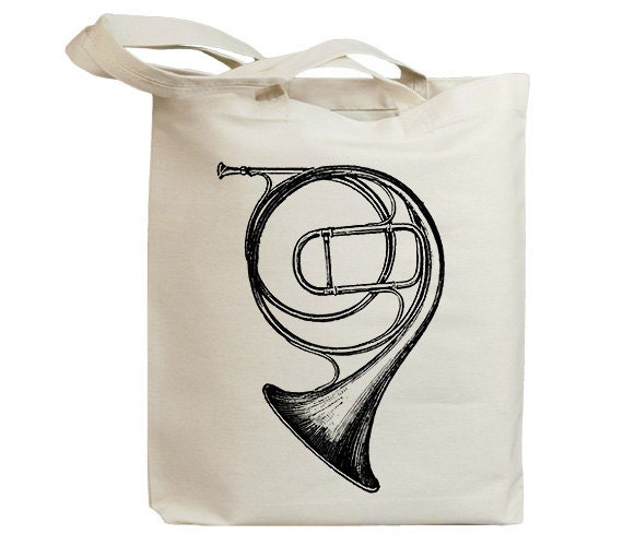 Horn Music Vintage Eco Friendly Canvas Tote Bag (id6206)