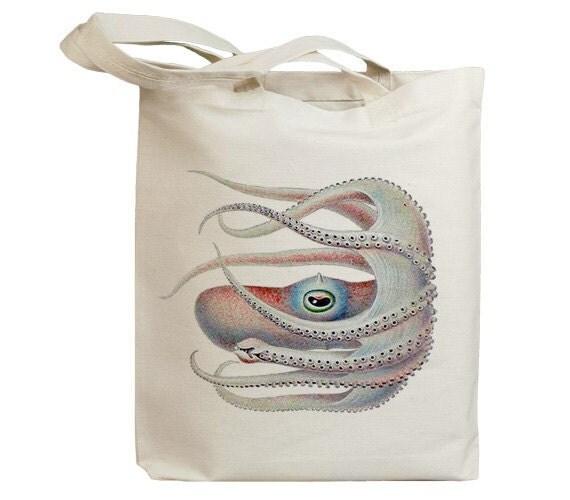Retro White Octopus Eco Friendly Canvas Tote Bag (id6406)