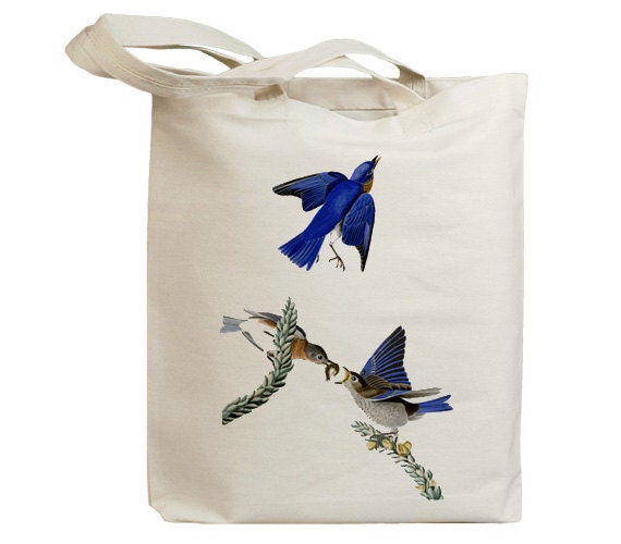 Blue Birds Eco Friendly Canvas Tote Bag (id7030)
