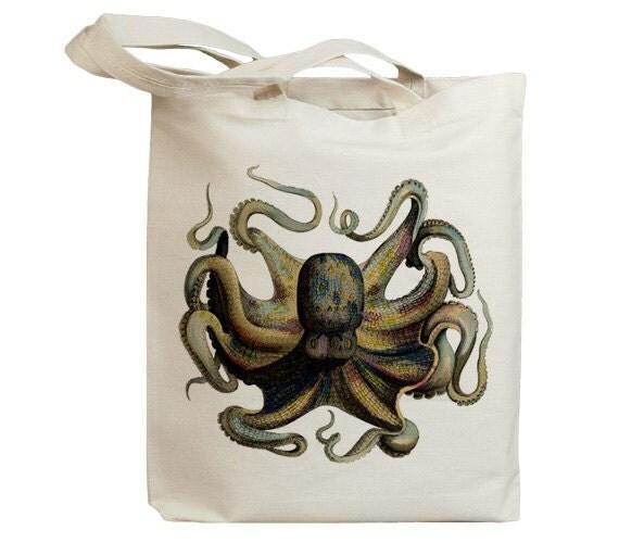 Retro Octopus Vintage Eco Friendly Canvas Tote Bag (idb0019)