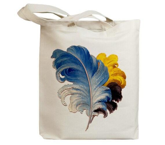 Retro Bird Feather 04 Vintage Eco Friendly Canvas Tote Bag (idb0008)