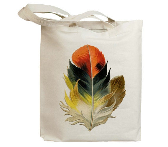 Retro Bird Feather 02 Vintage Eco Friendly Canvas Tote Bag (idb0006)