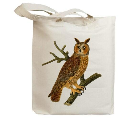 Retro Brown Owl Vintage Eco Friendly Canvas Tote Bag (idb0004)