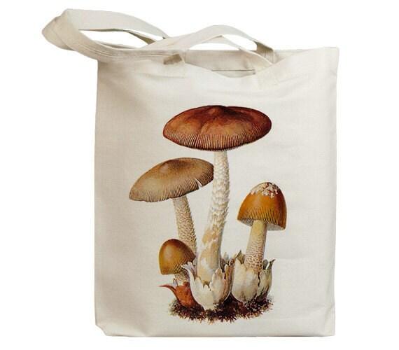 Mushroom 10 Vintage Eco Friendly Canvas Tote Bag (ixp010)