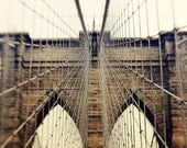 In Perspective - 8x10 Photographic Print - brooklyn bridge - manhattan - new york - travel photography - architecture - architectural - geometric - triangle - angle - sharp lines - brown - beige - creamy - grungy - shabby - black - photo - photograph