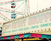 Sweet Shop at the Fair - 5x7 Fine Art Photographic Print on Lustre paper - carnival, fair, pink turquoise, retro vintage ferris wheel