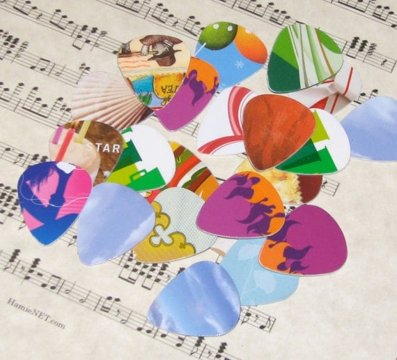 Guitar Picks - 12 pack - Recycled Upcycled Redeemed Gift Cards - Make Earrings or Jewelry Too - FREE SHIPPING in USA