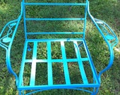 SALE, AQUA vintage wrought iron chair