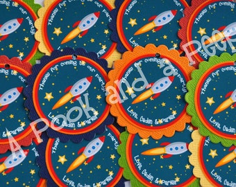 Personalized and Customizable Outer Space Rocket Ship Favor Tags - Birthday Parties and Baby Showers