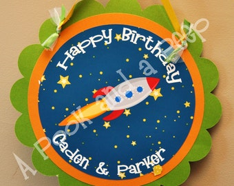 Personalized Outer Space Rocket Ship Hanging Door Sign - Birthday and Baby Shower Decoration