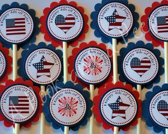 Red, White, and Blue Patriotic Cupcake Toppers 4th of July, Memorial Day