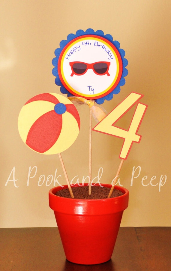 Pool Beach Party Primary Color Birthday Potted Centerpiece Baby Shower Decoration