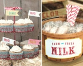 Barnyard Party 14  Animal Sounds Flags and Farm Fresh Milk Sign