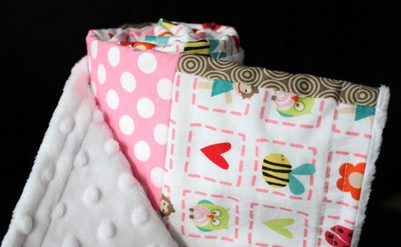 SALE  - Patchwork Baby Blanket, Pink and Brown Baby Quilt